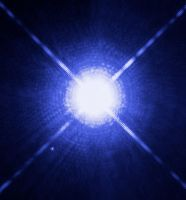 An image of Sirius and Sirius B as it appears to human eyes.
