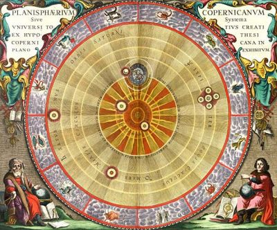 "Copernicus's heliocentric model of the Solar System. The Earth is found in the third ring, with the Moon orbiting it. Note that Jupiter is surrounded by the four moons known at the time—the so-called ""Galilean moons."""