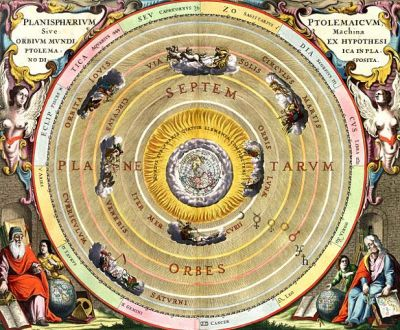 Ptolemy's simple geocentric model of the Solar System. Everything orbits the Earth; the Sun can be found in the fourth ring.